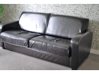 Leather 4 seater sofa in very dark brown (looks black)