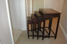 Nest of 4 Tables in Vintage Rose Wood Asian Hand Made Look
