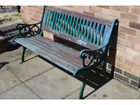 Cast iron table and bench with 2 chairs Cast iron