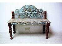 Beautiful hand carved and hand painted antique bench