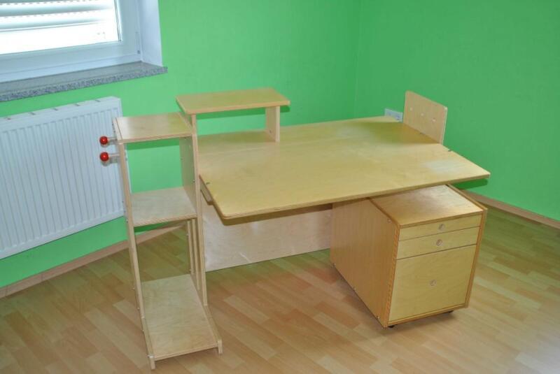 haba jako o schreibtisch schlaukopf mit rollcontainer und stuhl in bayern mering ebay. Black Bedroom Furniture Sets. Home Design Ideas