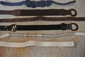 Selection of various Womans belts Small/Medium