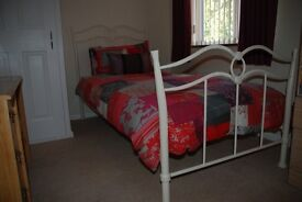 3' Cream Metal Bed with mattrass
