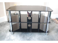 TV stand 3 shelf Black Glass and Chrome.... 80cm wide ...excellent condition..suits 42in TV