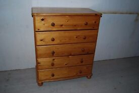 Solid pine chest of 5 drawers - hone pine colour - varnished