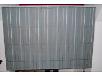 Pair beautiful quality Roman blinds blue with navy, ivory & bronze stripes Width 175cm Drop 125cm