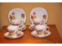 Vintage Royal Vale Bone China set of Five Trios decorated in Art Deco Tulips