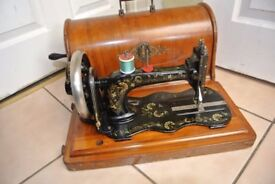 Antique Singer 12K Fiddle Base Sewing Machine + Case WITH Ottoman Carnation Decals(RARE)