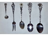 4 Silver Continental Fork and Spoons and Small Shell Spoon
