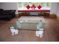 Harrods Glass & Stone Chinese Foo Dogs Oriental Coffee Table