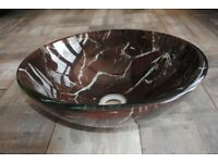 Glass marble effect round vanity basin.