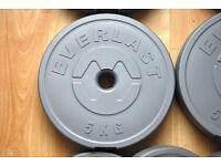 New Everlast 5kg dumbell/barbell plates x 4