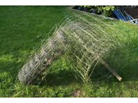 """stock fencing used but in good condition allotment garden pigs sheep hens goats 4"""" square holes"""