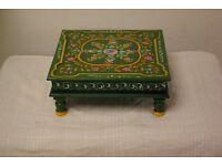 Antique Hand painted green Indian chowki meenakari table