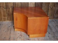 G Plan Fresco corner unit large TV stand mid century mod Danish teak era Brighton bookcase gplanera