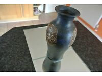 "BNNT Blue Black Pottery Vase for Dried Flowers 9"" x 14.5"" x 3"""