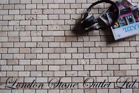 Light & Noce Tumbled Travertine 2.3x4.8cm Brick Mosaic Offer