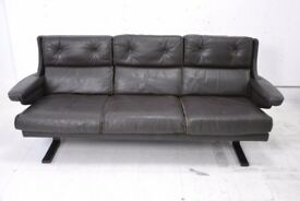 Really comfortable and stylish Danish 3 seater dark brown leather sofa