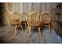 ERCOL chairs x6 1960s blue label natural finish elm mid century vintage gplanera