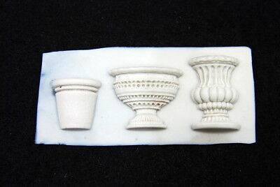 2D Vase Set #4, Silicone Mold Candle Chocolate Polymer Clay Jewelry Soap Wax