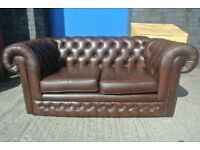 Leather Chesterfield Sofa Thomas Lloyd 2 Seater Brown
