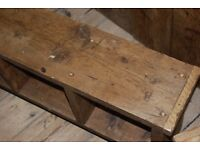 BENCH pigeon holes x2 shoe bottle book tidy TV stand solid reclaimed wood Brighton England gplanera