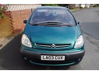 CITROEN XSARA PICASSO SXI HDI 2003 LOW MILES CHEAP DIESEL SOME HISTORY CHEAP TO CLEAR £425