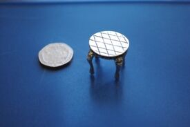 MINIATURE DOLL's HOUSE SILVER ROUND TABLE