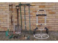 LARGE SELECTION OF GARDEN TOOLS SPADE, FORK, RAKE, CULTIVATORS, HAND TOOLS AND TROLLEY, CAN DELIVER