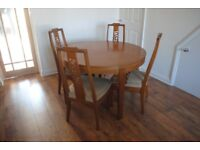 Wooden extendable dining table and 4 chairs