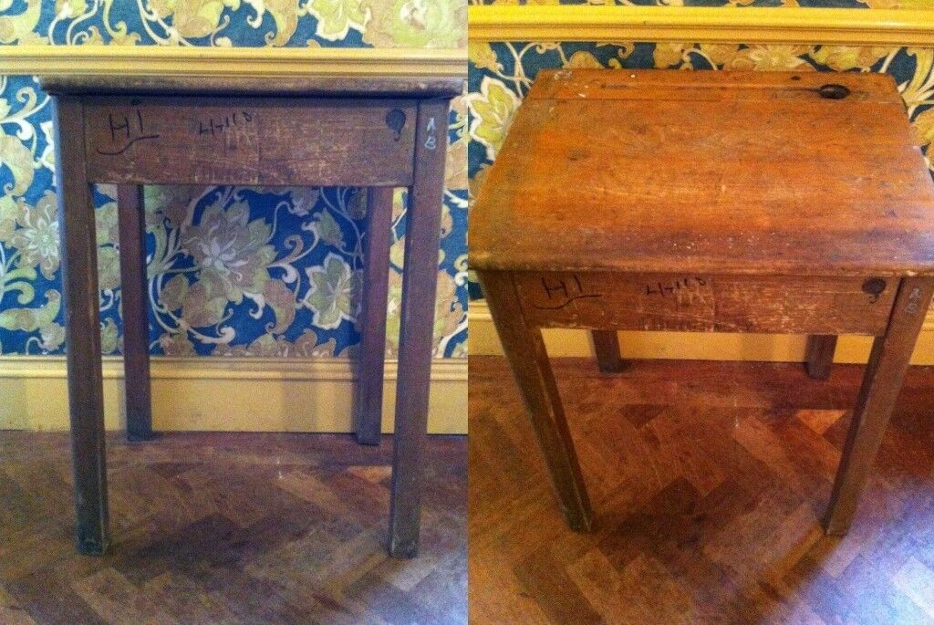 2 school desks, hardwood vintage with authentic school graffiti, £24 for  two/£12 for one | in Maidenhead, Berkshire | Gumtree