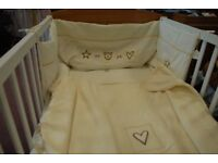 Cot Bed wooden brand new complete with bedding / bumper wood