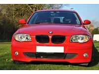BMW 116i sport with custom black leather interior with exterior colour matching stiching