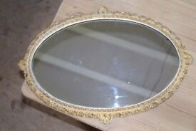 Vintage large oval wall mirror with faded gold shabby chic style metal frame