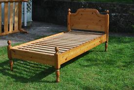 Singe pine bed with mattress