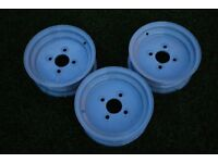 "Three 10"" trailer wheel rims"