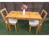 Dining table pine and 2 chairs kitchen table seat cushions DELIVERY AVAILABLE WITHIN LE3