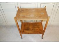 Wooden tea trolley probably made by an hobbyist in the 1960's, ideal in a conservatory for display.