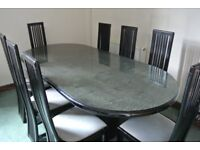 High Gloss Black/Grey marble effect Italian Dining Table and Eight Black High Gloss Chairs.