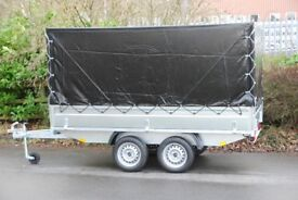 3m x 1.5m Box trailer 750kg twin axle with drop sides and cover