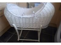 Mothercare Apples and Pears willow snug style moses basket & Free stand