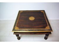 Beautiful hand carved and brass stencilled coffee table