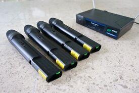 Four VHF Wireless Cordless DJ Karaoke PA Mic Microphones