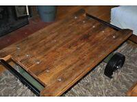 Rustic vintage handmade cart coffee table solid wood
