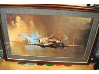 WW11 Framed colour picture of Spitfire signed by Barry Price Large picture, see size.
