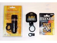 Set of Bike Lights with Fresh Pack of MAXELL Batteries. Stay Safe on the Road for Just £5