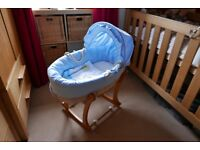 Moses basket (Obaby) with rocker stand (Mothercare).