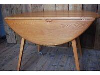 ERCOL TABLE round drop-leaf blue label 1960s (50s) vintage mid century modern retro gplanera