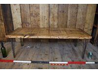 RECLAIMED wood & steel COFFEE TABLE salvage hunters England vintage industrial rustic 3 gplanera
