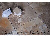 BRAND NEW - Golden Walnut Honed & Filled Travertine 61cm x 40.6cm x 1.2cm Tiles